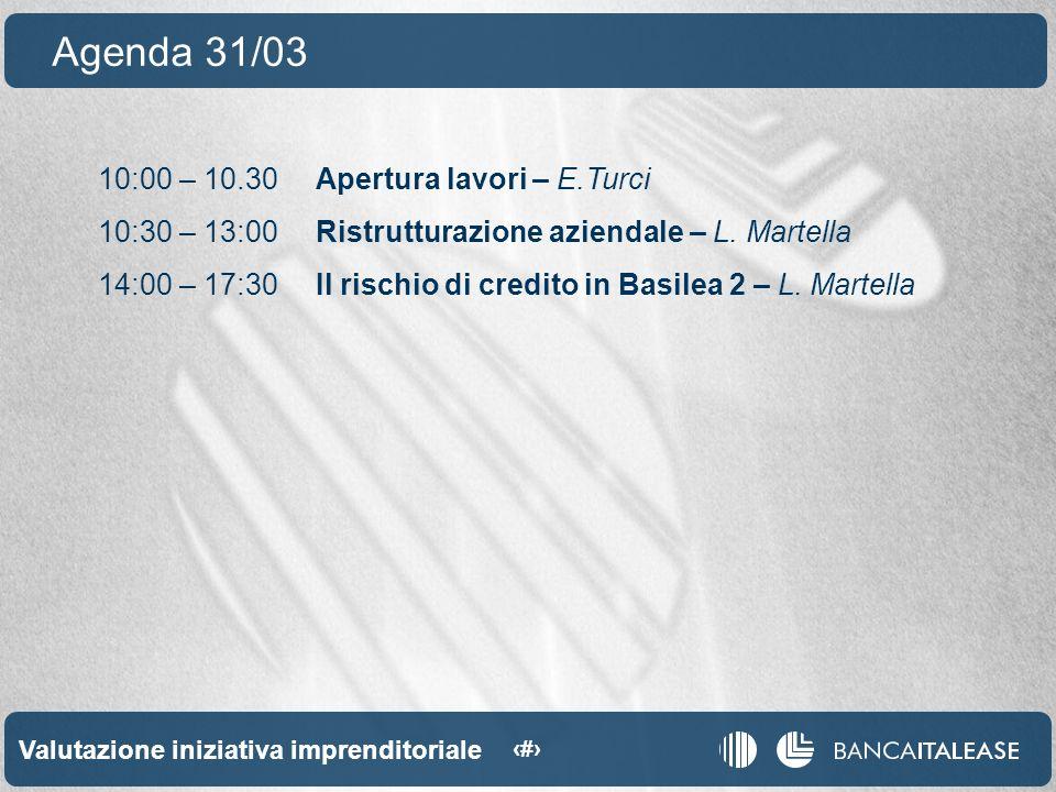 Valutazione iniziativa imprenditoriale 2 10:00 – 10.30Apertura lavori – E.Turci 10:30 – 13:00Ristrutturazione aziendale – L.