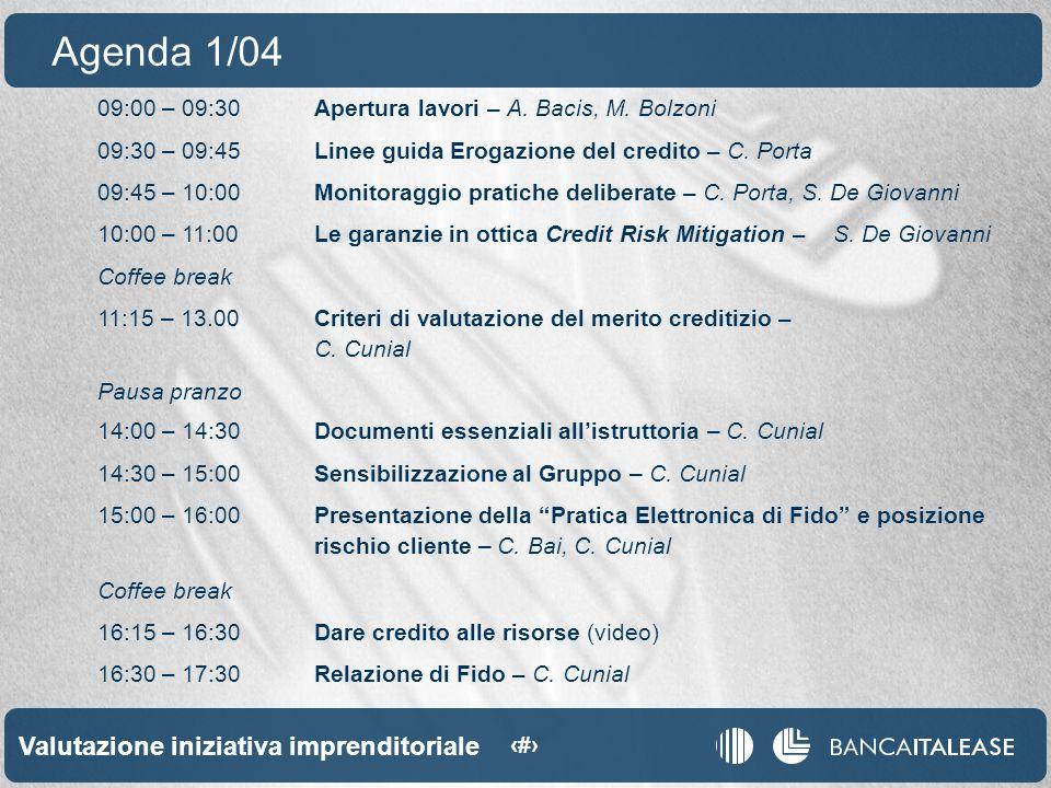 Valutazione iniziativa imprenditoriale 3 09:00 – 09:30Apertura lavori – A.