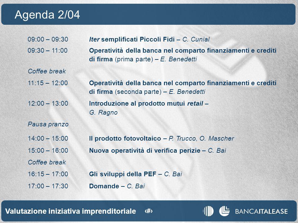 Valutazione iniziativa imprenditoriale 4 09:00 – 09:30Iter semplificati Piccoli Fidi – C.