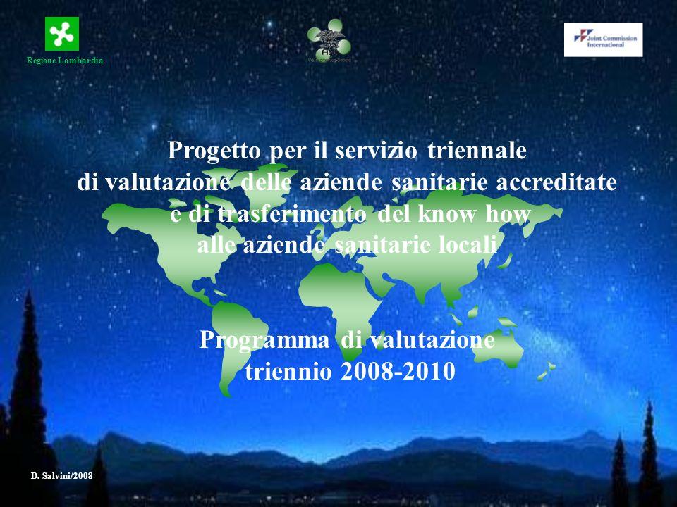 Regione Lombardia D. Salvini/2008 Progetto per il servizio triennale di valutazione delle aziende sanitarie accreditate e di trasferimento del know ho