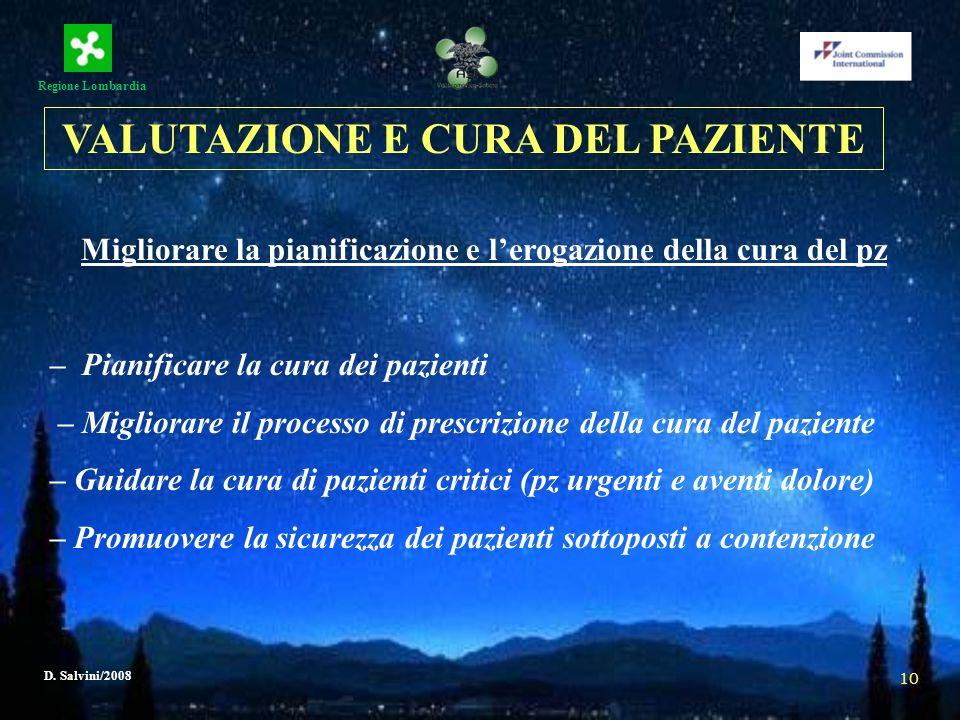 Regione Lombardia D. Salvini/2008 10 Migliorare la pianificazione e lerogazione della cura del pz – Pianificare la cura dei pazienti – Migliorare il p