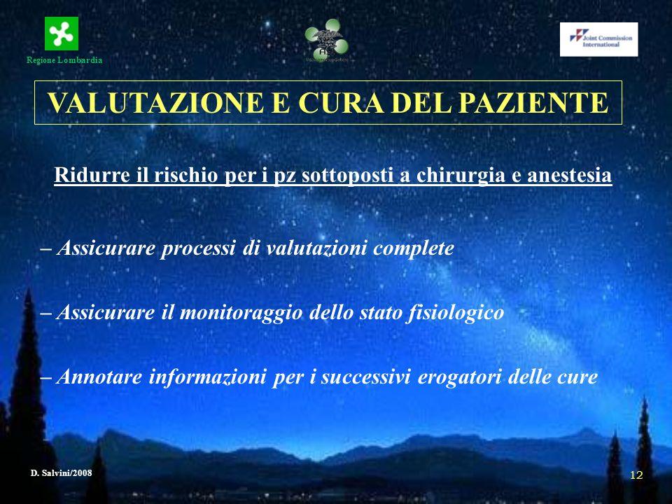 Regione Lombardia D. Salvini/2008 12 Ridurre il rischio per i pz sottoposti a chirurgia e anestesia – Assicurare processi di valutazioni complete – As