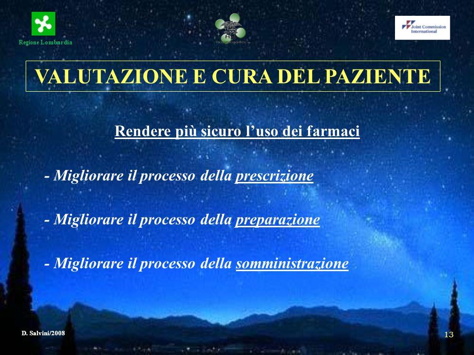 Regione Lombardia D. Salvini/2008 13 Rendere più sicuro luso dei farmaci - Migliorare il processo della prescrizione - Migliorare il processo della pr