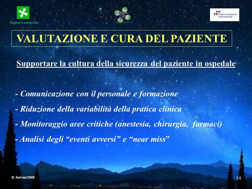 Regione Lombardia D. Salvini/2008 14 Supportare la cultura della sicurezza del paziente in ospedale - Comunicazione con il personale e formazione - Ri