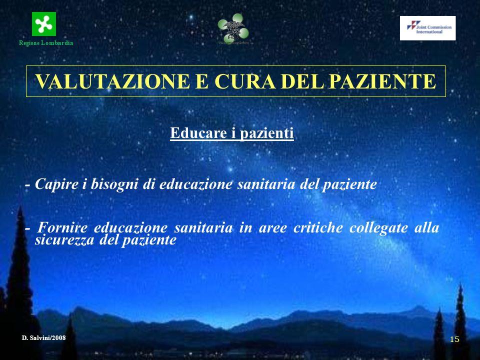 Regione Lombardia D. Salvini/2008 15 Educare i pazienti - Capire i bisogni di educazione sanitaria del paziente - Fornire educazione sanitaria in aree