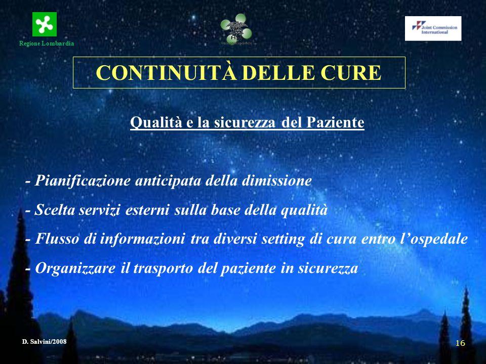 Regione Lombardia D. Salvini/2008 16 Qualità e la sicurezza del Paziente - Pianificazione anticipata della dimissione - Scelta servizi esterni sulla b