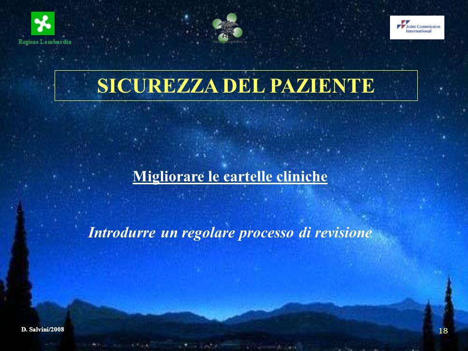 Regione Lombardia D. Salvini/2008 18 Migliorare le cartelle cliniche Introdurre un regolare processo di revisione SICUREZZA DEL PAZIENTE