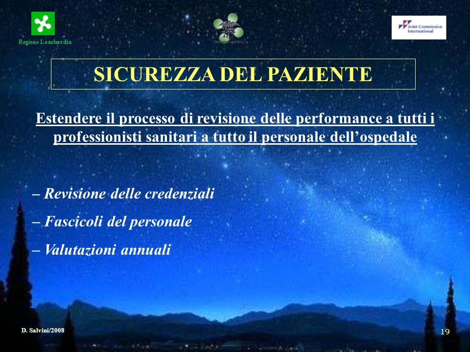 Regione Lombardia D. Salvini/2008 19 Estendere il processo di revisione delle performance a tutti i professionisti sanitari a tutto il personale dello