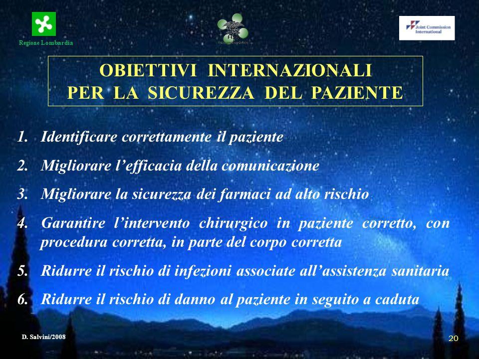 Regione Lombardia D. Salvini/2008 20 1.Identificare correttamente il paziente 2.Migliorare lefficacia della comunicazione 3.Migliorare la sicurezza de