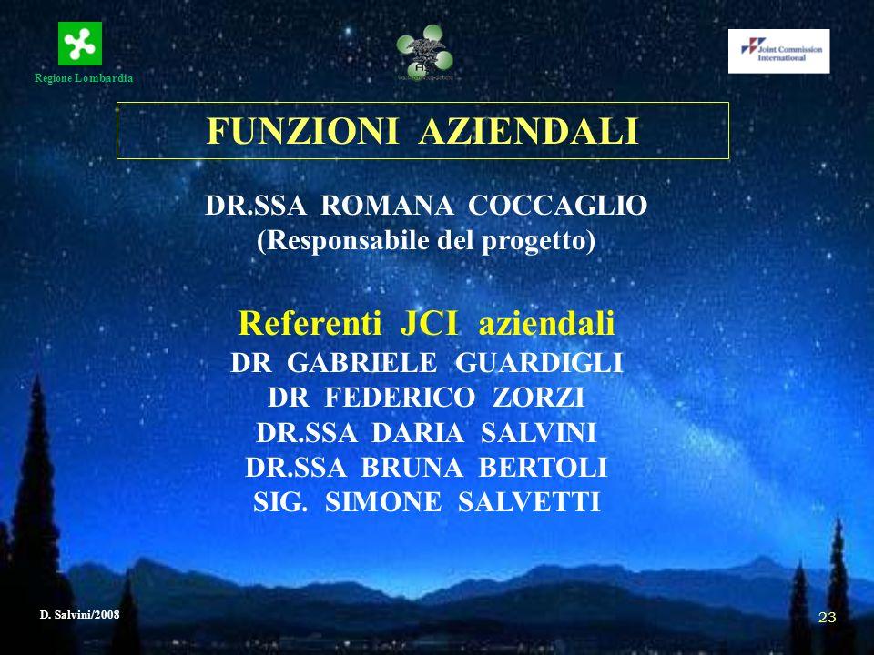 Regione Lombardia D. Salvini/2008 23 FUNZIONI AZIENDALI DR.SSA ROMANA COCCAGLIO (Responsabile del progetto) Referenti JCI aziendali DR GABRIELE GUARDI