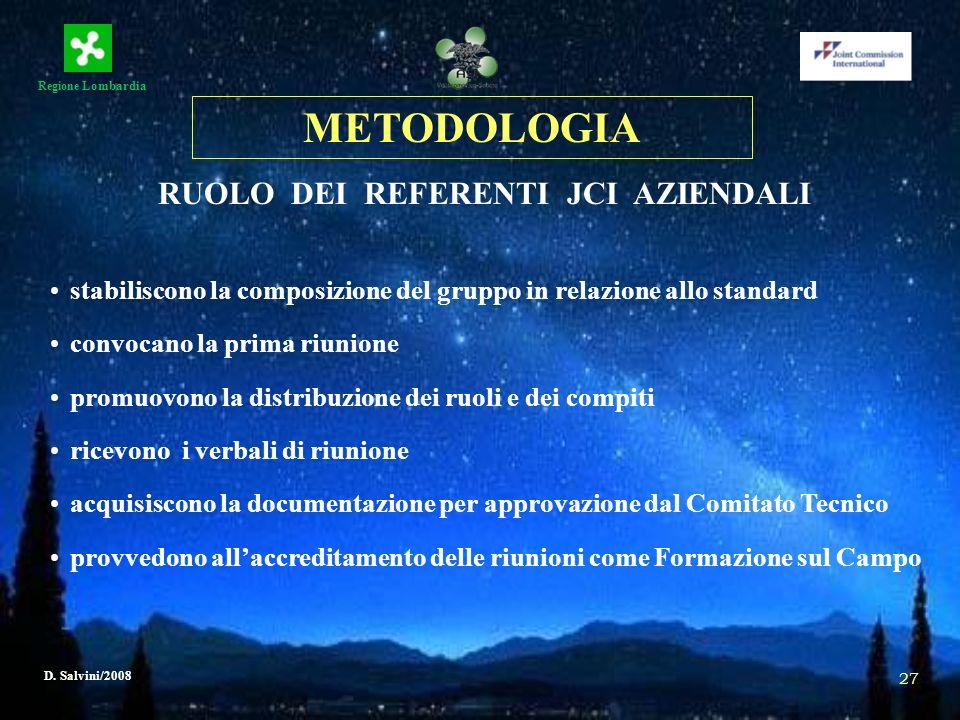 Regione Lombardia D. Salvini/2008 27 METODOLOGIA RUOLO DEI REFERENTI JCI AZIENDALI stabiliscono la composizione del gruppo in relazione allo standard