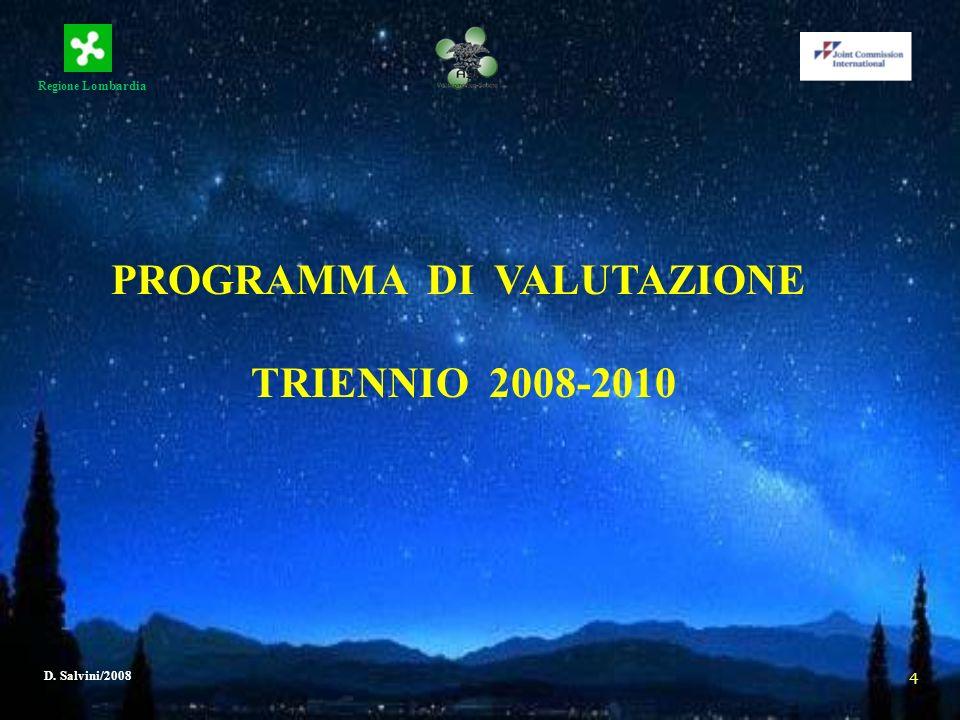 Regione Lombardia D. Salvini/2008 4 PROGRAMMA DI VALUTAZIONE TRIENNIO 2008-2010