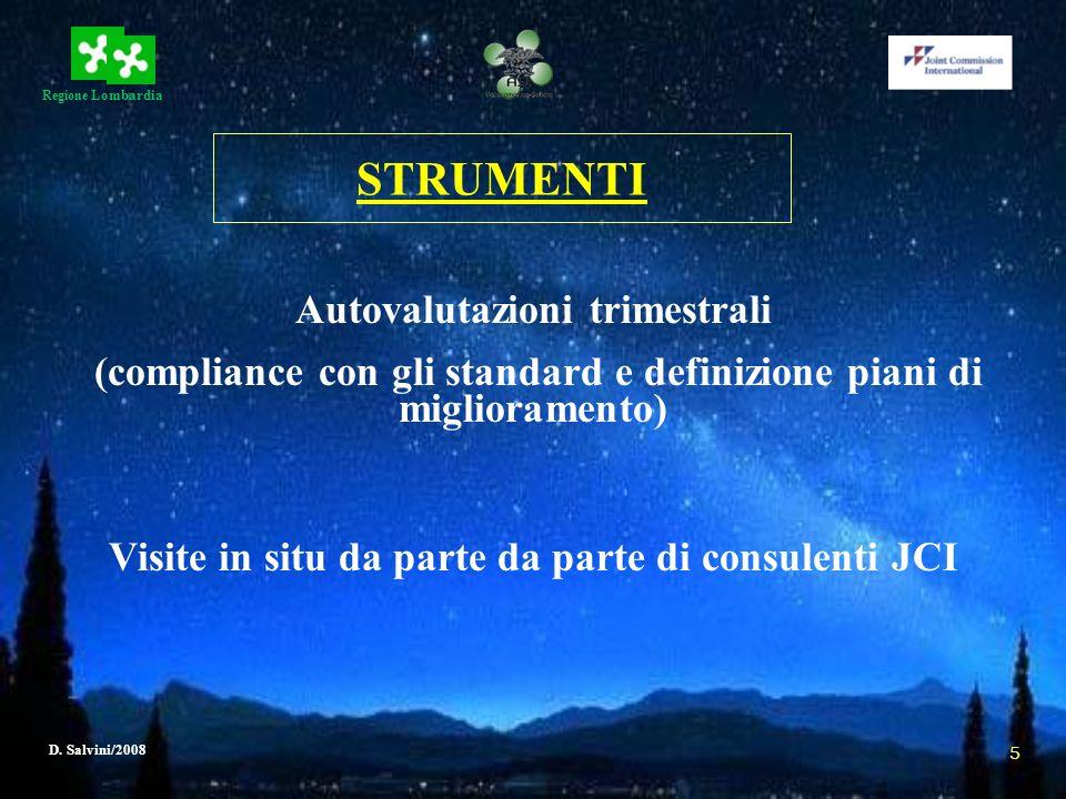 Regione Lombardia D. Salvini/2008 5 STRUMENTI Autovalutazioni trimestrali (compliance con gli standard e definizione piani di miglioramento) Visite in