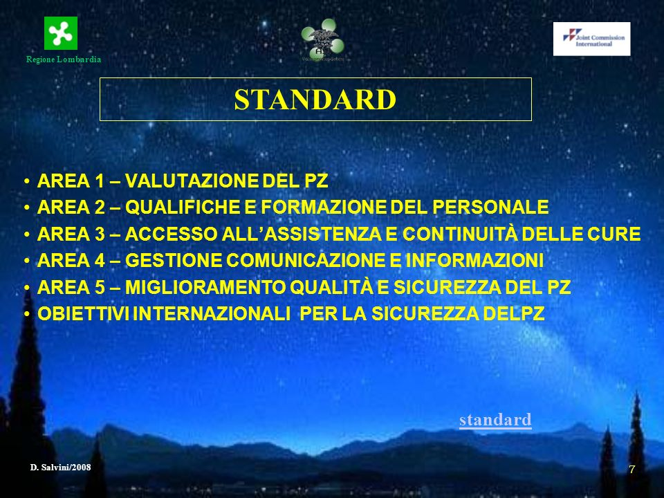 Regione Lombardia D. Salvini/2008 7 AREA 1 – VALUTAZIONE DEL PZ AREA 2 – QUALIFICHE E FORMAZIONE DEL PERSONALE AREA 3 – ACCESSO ALLASSISTENZA E CONTIN