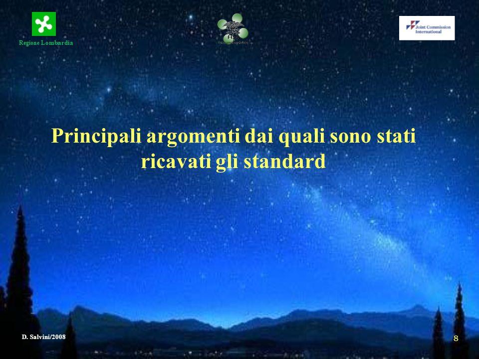 Regione Lombardia D. Salvini/2008 8 Principali argomenti dai quali sono stati ricavati gli standard