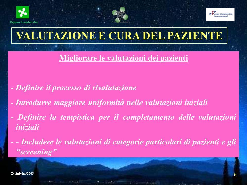 Regione Lombardia D. Salvini/2008 9 Migliorare le valutazioni dei pazienti - Definire il processo di rivalutazione - Introdurre maggiore uniformità ne
