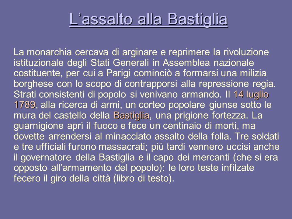 Lassalto alla Bastiglia Lassalto alla Bastiglia 14 luglio 1789 Bastiglia La monarchia cercava di arginare e reprimere la rivoluzione istituzionale deg