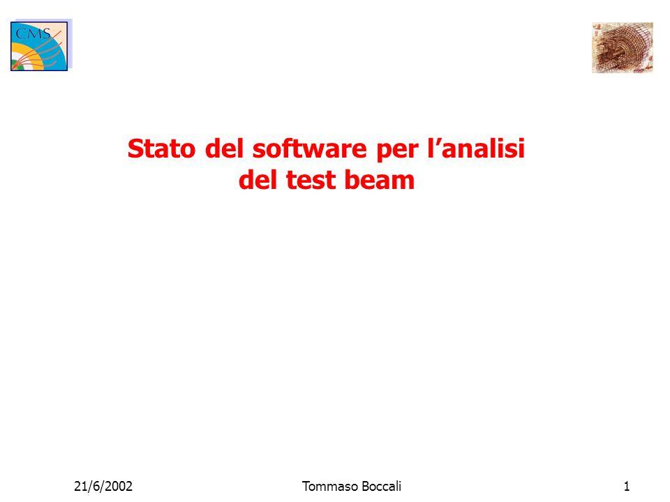 21/6/2002Tommaso Boccali2 Review di quello che esiste Analisi del test beam 2 pacchetti software (TT6 e ROB) committati e usabili da tutti Set di macro per facilitare luso dei programmi Files raw di Zebra disponibili per tutti su CASTOR al CERN Esempi di utilizzo dei programmi di analisi sul cluster del CERN per utenti generici Simulazione delle HIP in ORCA Primo tentativo di simulazione delle HIP già usabile Al momento sto raffinando la simulazione per permettere ulteriori possibilità
