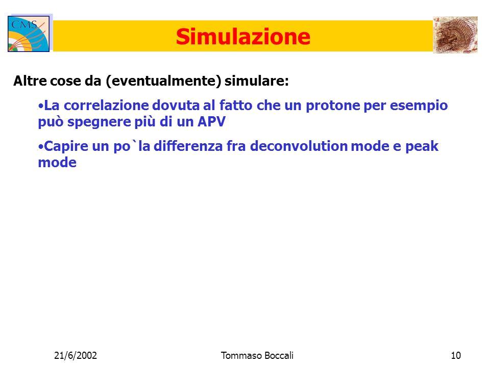 21/6/2002Tommaso Boccali10 Simulazione Altre cose da (eventualmente) simulare: La correlazione dovuta al fatto che un protone per esempio può spegnere più di un APV Capire un po`la differenza fra deconvolution mode e peak mode