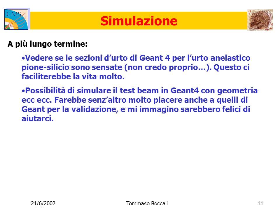 21/6/2002Tommaso Boccali11 Simulazione A più lungo termine: Vedere se le sezioni durto di Geant 4 per lurto anelastico pione-silicio sono sensate (non credo proprio…).
