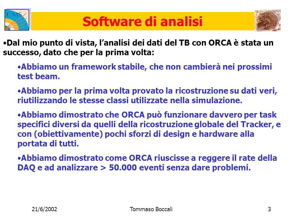 21/6/2002Tommaso Boccali3 Software di analisi Dal mio punto di vista, lanalisi dei dati del TB con ORCA è stata un successo, dato che per la prima volta: Abbiamo un framework stabile, che non cambierà nei prossimi test beam.