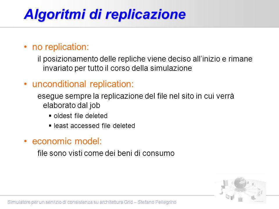 Simulatore per un servizio di consistenza su architettura Grid – Stefano Pellegrino Algoritmi di replicazione no replication: il posizionamento delle