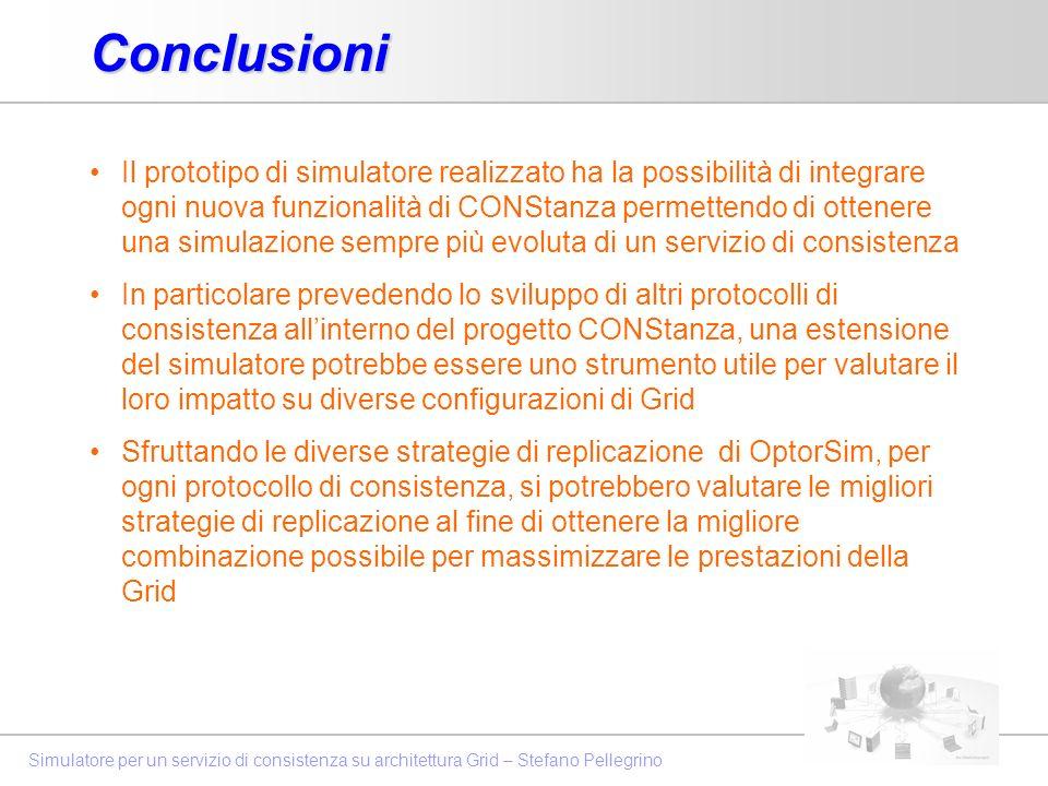 Simulatore per un servizio di consistenza su architettura Grid – Stefano PellegrinoConclusioni Il prototipo di simulatore realizzato ha la possibilità