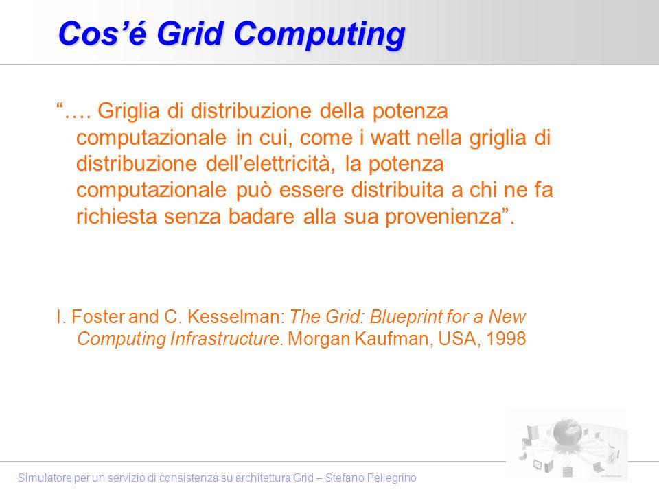 Simulatore per un servizio di consistenza su architettura Grid – Stefano Pellegrino Cosé Grid Computing …. Griglia di distribuzione della potenza comp