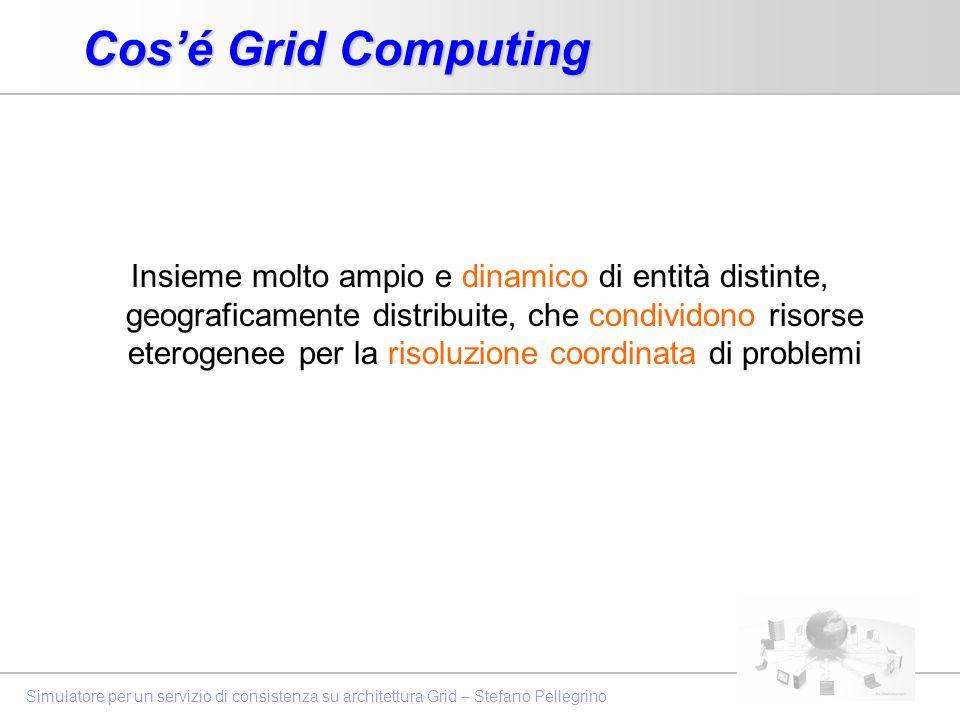 Simulatore per un servizio di consistenza su architettura Grid – Stefano Pellegrino Cosé Grid Computing Insieme molto ampio e dinamico di entità disti