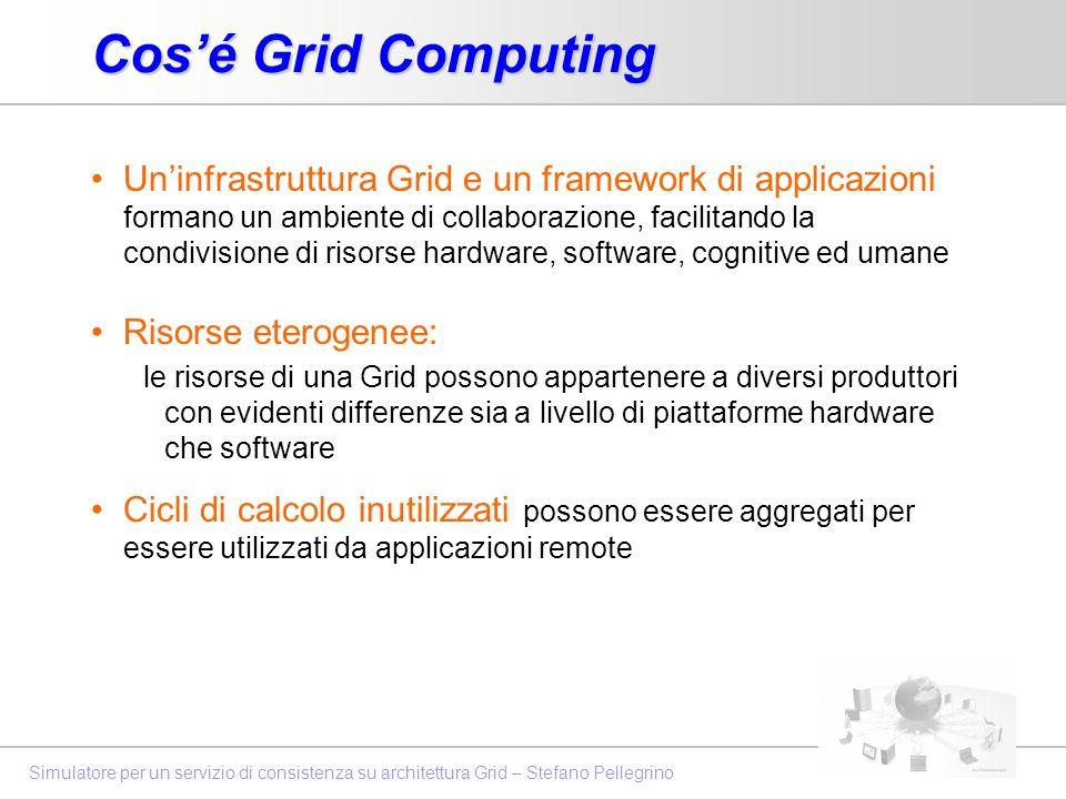 Simulatore per un servizio di consistenza su architettura Grid – Stefano Pellegrino Cosé Grid Computing Uninfrastruttura Grid e un framework di applic