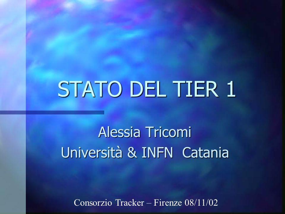 STATO DEL TIER 1 Alessia Tricomi Università & INFN Catania Consorzio Tracker – Firenze 08/11/02