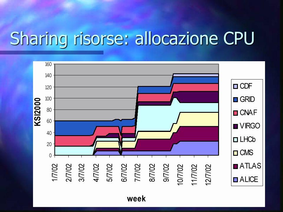 Allocazione risorse a CMS CPU: CPU: 8 biproc 1GHz 8 biproc 1GHz Completamente installati e operativi (dell25 GW, dell24,23,22,20,15,09,07 WN) Completamente installati e operativi (dell25 GW, dell24,23,22,20,15,09,07 WN) > 5 biproc dedicati a DATATAG > 5 biproc dedicati a DATATAG da consegnare nuovi biproc 2.2GHz da consegnare nuovi biproc 2.2GHz DISCO: DISCO: due volumi da circa 1Tb ciascuno, con upgrade fino a circa 4.5 Tb disponibile due volumi da circa 1Tb ciascuno, con upgrade fino a circa 4.5 Tb disponibile