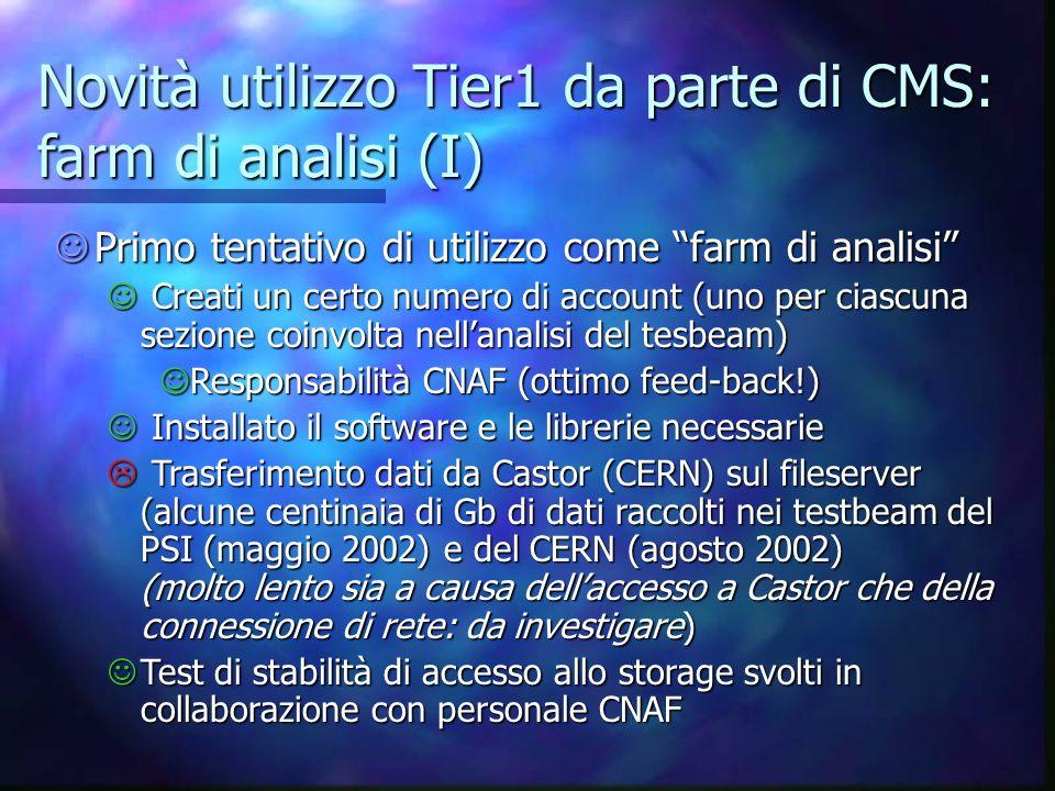 Novità utilizzo Tier1 da parte di CMS: farm di analisi (I) Primo tentativo di utilizzo come farm di analisi Primo tentativo di utilizzo come farm di a
