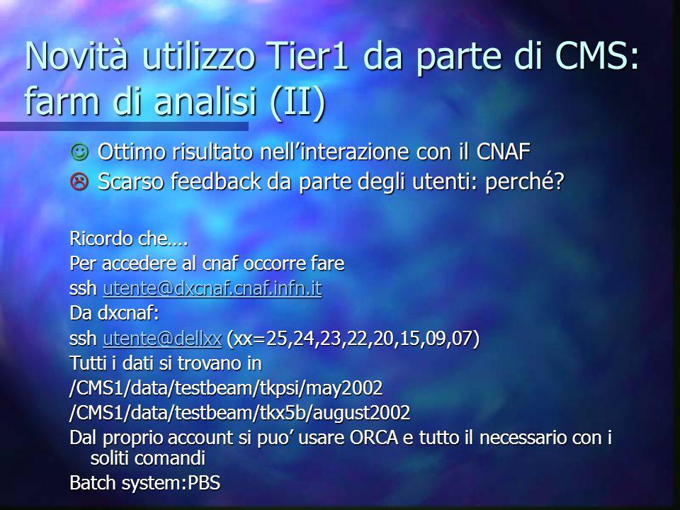 Novità utilizzo Tier1 da parte di CMS: farm di analisi (II) Ottimo risultato nellinterazione con il CNAF Ottimo risultato nellinterazione con il CNAF