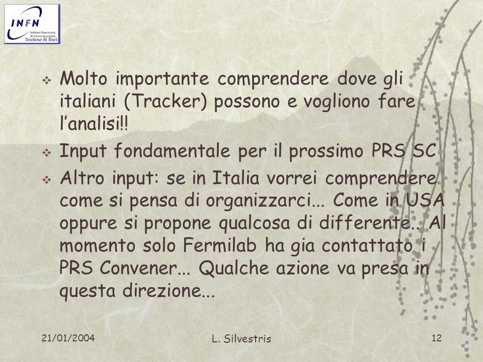 21/01/2004 L. Silvestris 12 Molto importante comprendere dove gli italiani (Tracker) possono e vogliono fare lanalisi!! Input fondamentale per il pros