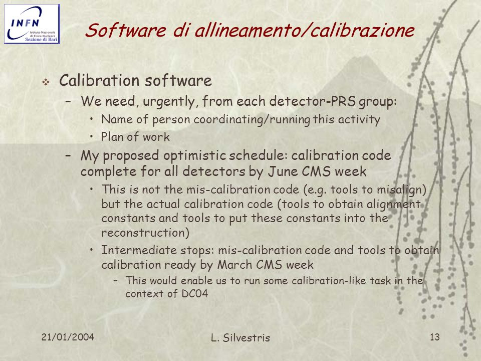 21/01/2004 L. Silvestris 13 Software di allineamento/calibrazione Calibration software –We need, urgently, from each detector-PRS group: Name of perso