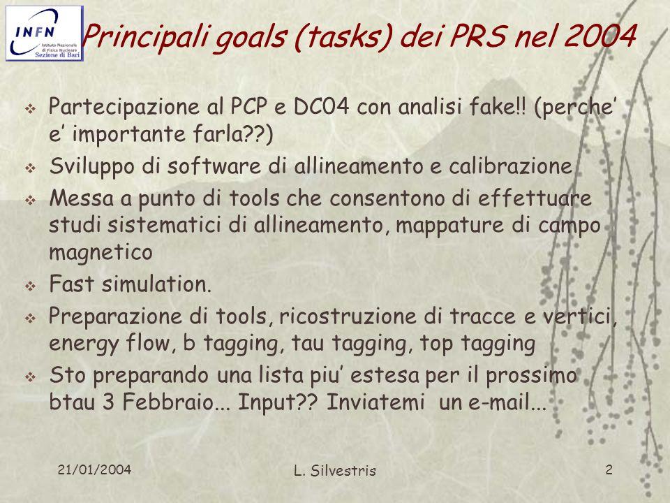 21/01/2004 L. Silvestris 2 Principali goals (tasks) dei PRS nel 2004 Partecipazione al PCP e DC04 con analisi fake!! (perche e importante farla??) Svi