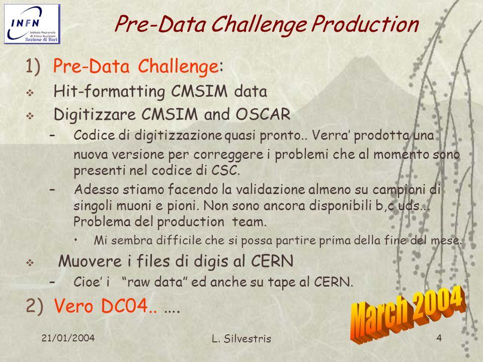 21/01/2004 L. Silvestris 4 Pre-Data Challenge Production 1)Pre-Data Challenge: Hit-formatting CMSIM data Digitizzare CMSIM and OSCAR –Codice di digiti