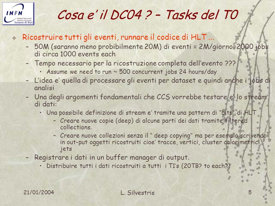21/01/2004 L. Silvestris 5 Cosa e il DC04 ? – Tasks del T0 Ricostruire tutti gli eventi, runnare il codice di HLT... –50M (saranno meno probibilmente