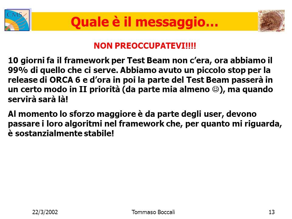 22/3/2002Tommaso Boccali13 Quale è il messaggio… NON PREOCCUPATEVI!!!.