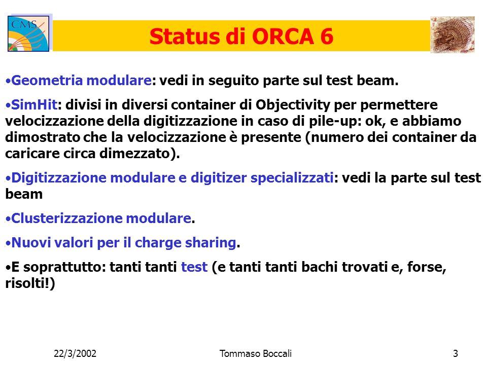 22/3/2002Tommaso Boccali3 Status di ORCA 6 Geometria modulare: vedi in seguito parte sul test beam.