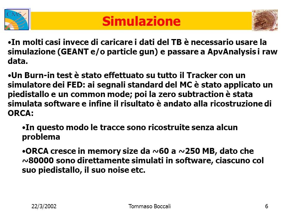 22/3/2002Tommaso Boccali6 Simulazione In molti casi invece di caricare i dati del TB è necessario usare la simulazione (GEANT e/o particle gun) e passare a ApvAnalysis i raw data.