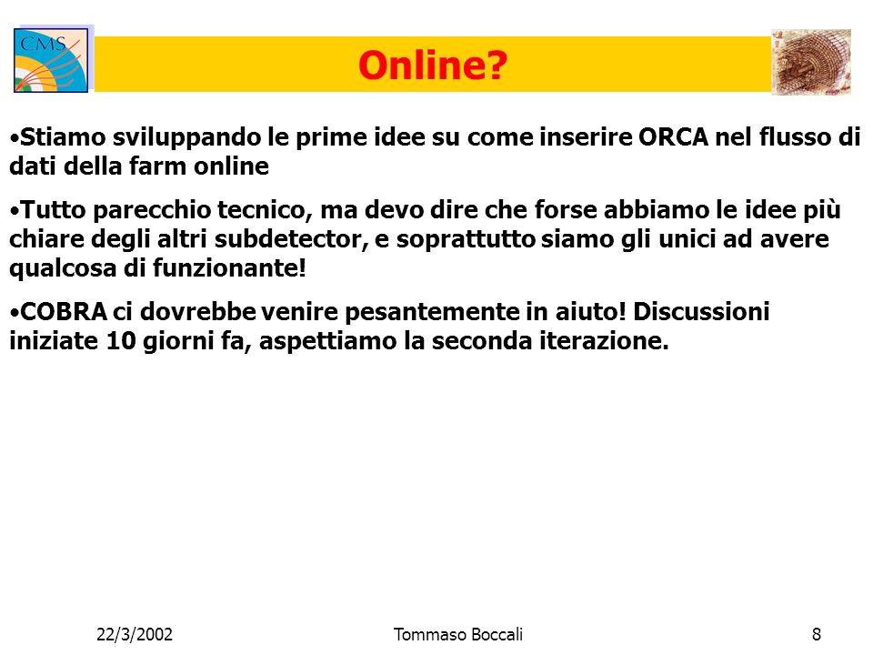 22/3/2002Tommaso Boccali8 Online.