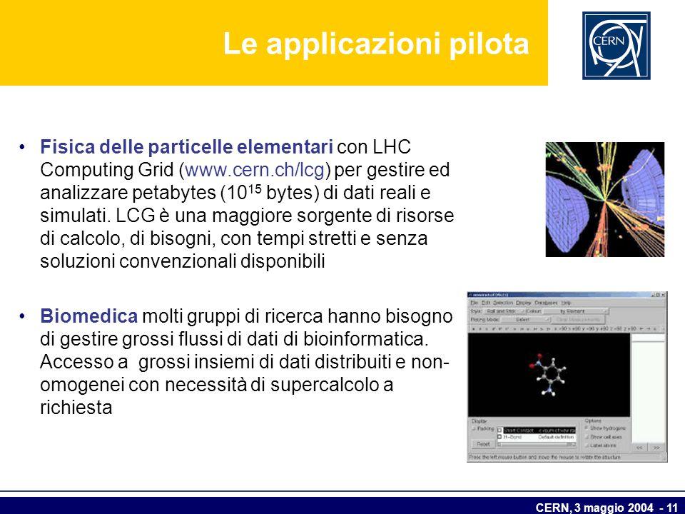 CERN, 3 maggio 2004 - 11 Le applicazioni pilota Fisica delle particelle elementari con LHC Computing Grid (www.cern.ch/lcg) per gestire ed analizzare