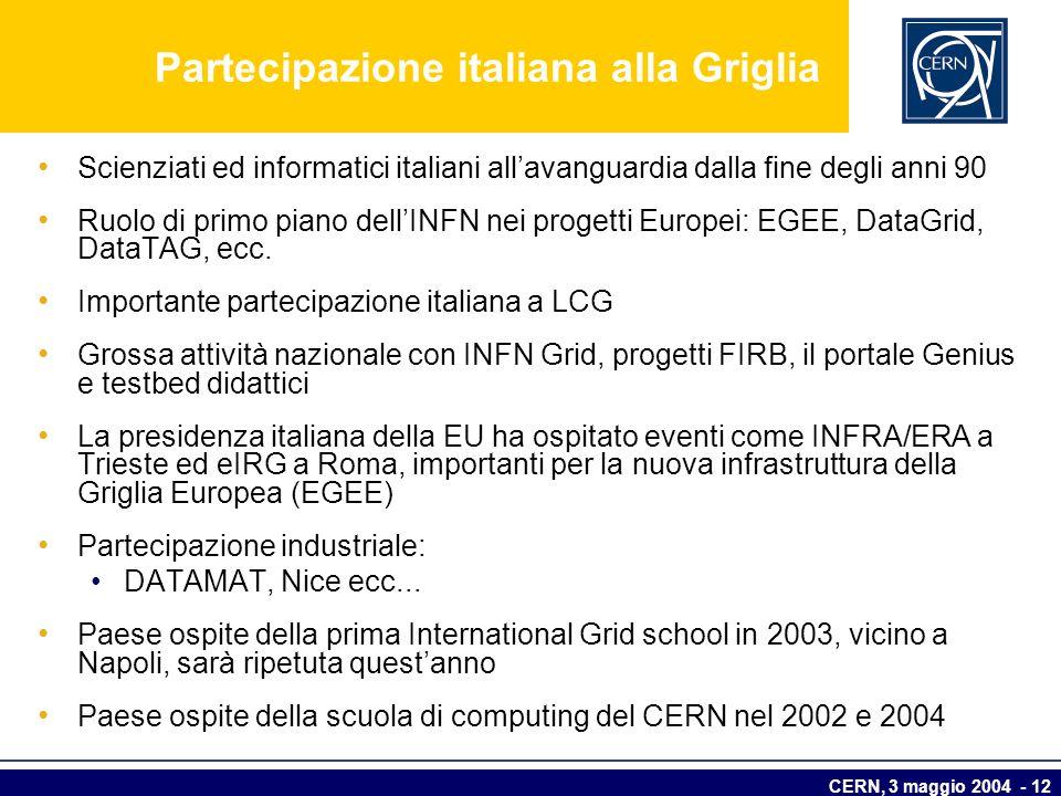 CERN, 3 maggio 2004 - 12 Partecipazione italiana alla Griglia Scienziati ed informatici italiani allavanguardia dalla fine degli anni 90 Ruolo di prim