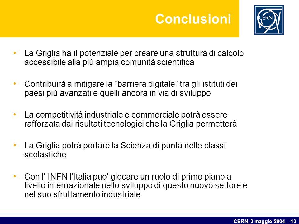 CERN, 3 maggio 2004 - 13 Conclusioni La Griglia ha il potenziale per creare una struttura di calcolo accessibile alla più ampia comunità scientifica C