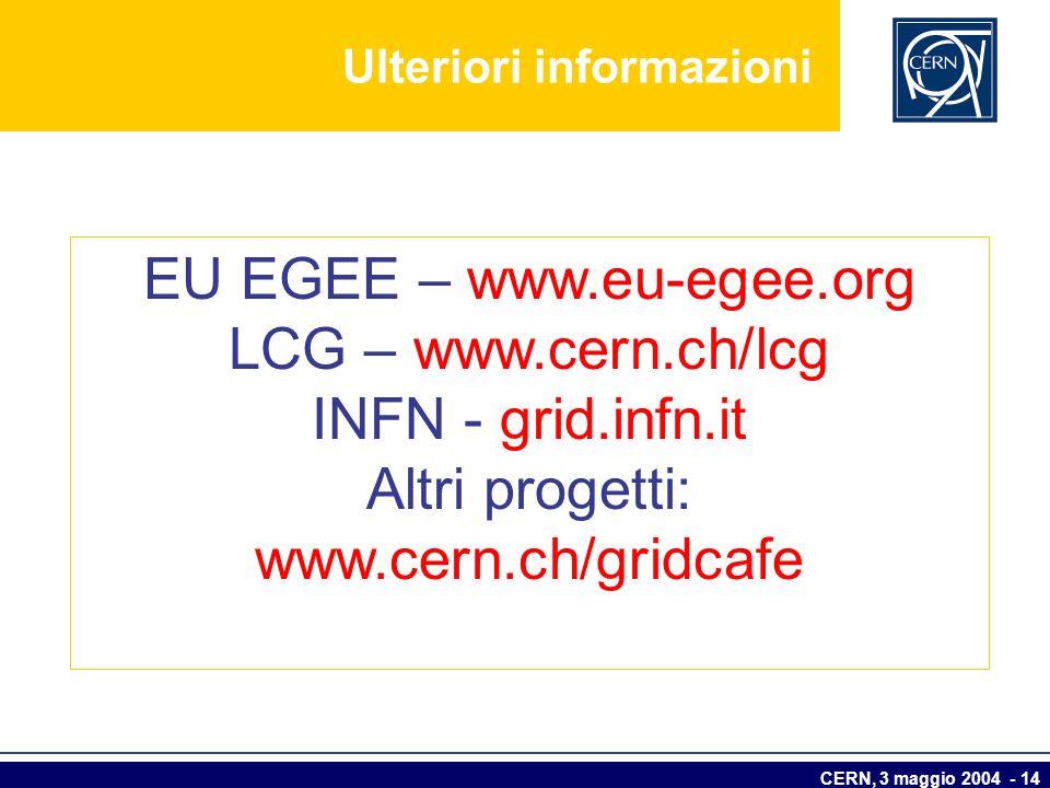 CERN, 3 maggio 2004 - 14 EU EGEE – www.eu-egee.org LCG – www.cern.ch/lcg INFN - grid.infn.it Altri progetti: www.cern.ch/gridcafe Ulteriori informazio