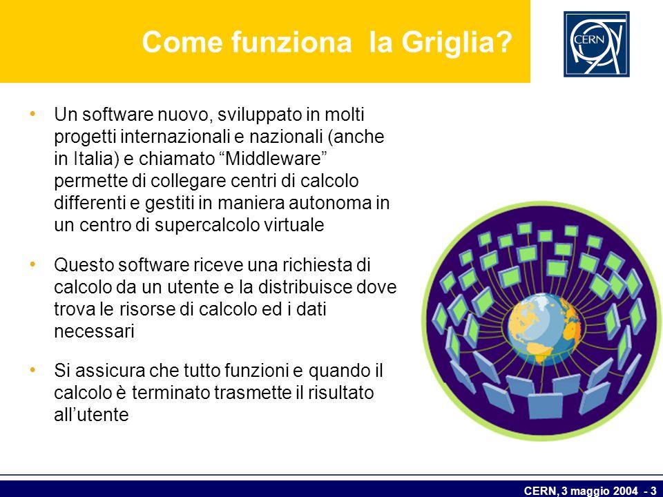 CERN, 3 maggio 2004 - 3 Come funziona la Griglia? Un software nuovo, sviluppato in molti progetti internazionali e nazionali (anche in Italia) e chiam
