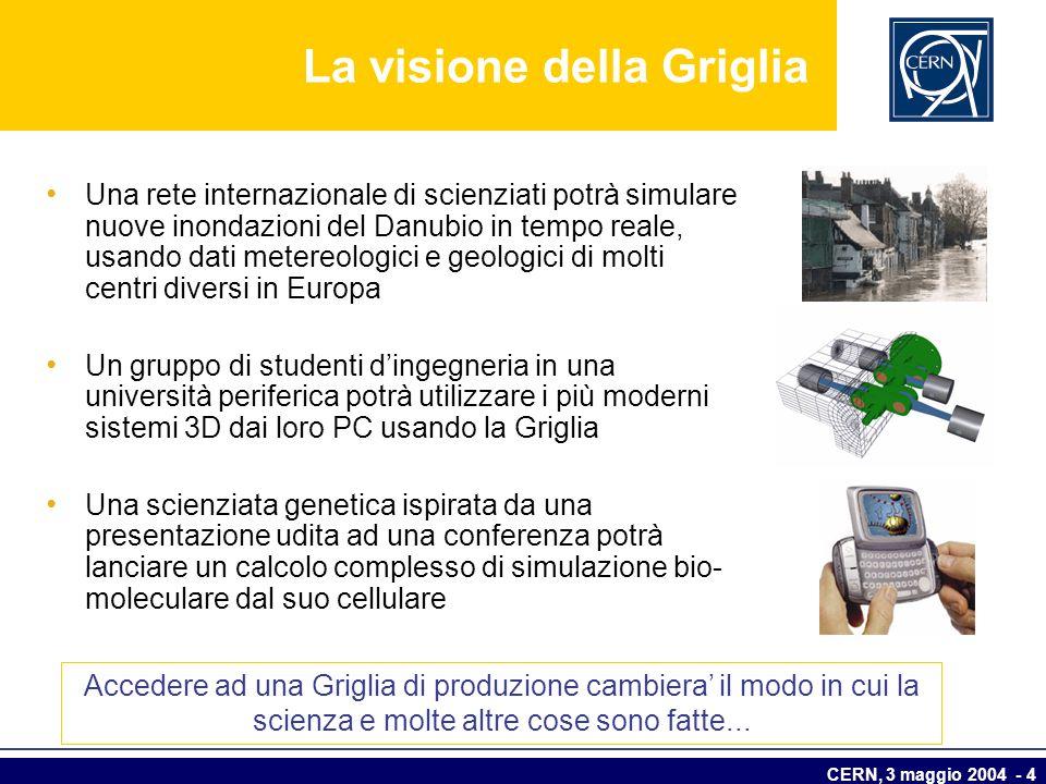 CERN, 3 maggio 2004 - 4 La visione della Griglia Una rete internazionale di scienziati potrà simulare nuove inondazioni del Danubio in tempo reale, us