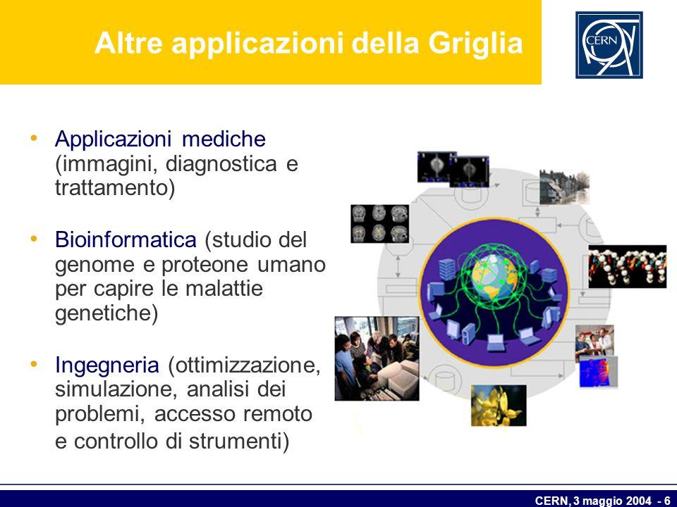 CERN, 3 maggio 2004 - 6 Altre applicazioni della Griglia Applicazioni mediche (immagini, diagnostica e trattamento) Bioinformatica (studio del genome
